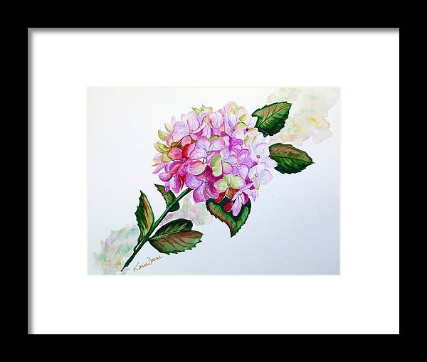 Hydrangea Painting Floral Painting Flower Pink Hydrangea Painting Botanical Painting Flower Painting Botanical Painting Greeting Card Painting Painting Framed Print featuring the painting Pretty In Pink by Karin Dawn Kelshall- Best