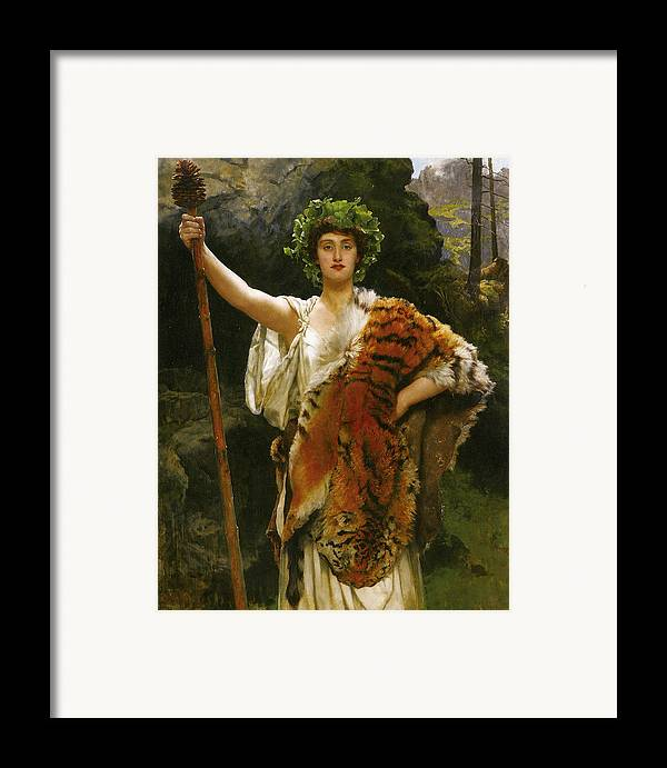 John Collier Framed Print featuring the digital art Priestess Bacchus by John Collier
