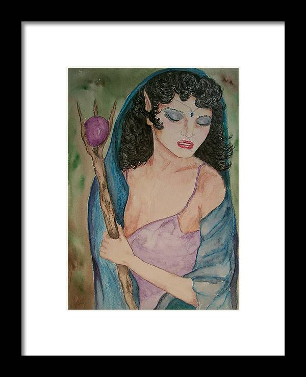 Pagan Framed Print featuring the painting Priestess by Carrie Viscome Skinner