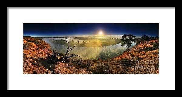 Sunrise Murray River Maynard Lookout Walker Flat Riverland South Australia Australian Landscape Pan Panorama Early Morning Primeval Dawn Mist Misty Fog Foggy Framed Print featuring the photograph Primeval Dawn by Bill Robinson
