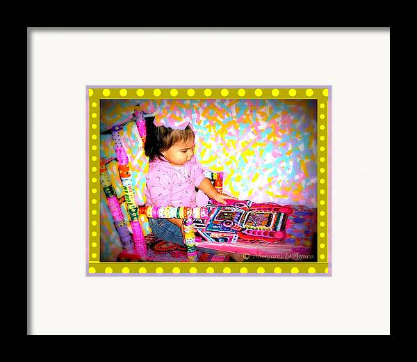 Child In A Rocking Chair Print Framed Print featuring the painting Princess Bella In The Original Magical Rocking Chair by Maryann DAmico