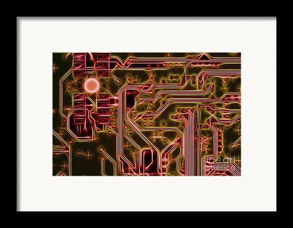 Printed Framed Print featuring the digital art Printed Circuit - Motherboard by Michal Boubin