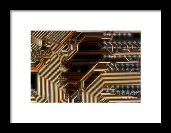 Technology Framed Print featuring the digital art Printed Curcuit by Michal Boubin