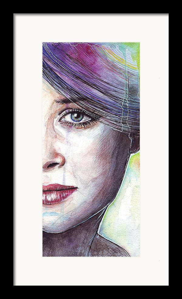 Watercolor Painting Framed Print featuring the painting Prismatic Visions by Olga Shvartsur