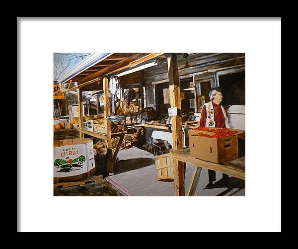 Rural Life Framed Print featuring the painting Produce Market by Thomas Akers
