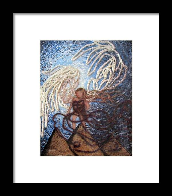 Colorful Framed Print featuring the painting Prophetic Storm Of Angels by Jeanne Ward