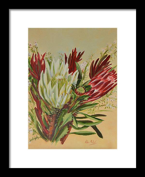 Floral Art Framed Print featuring the painting Protea Bunch by Aileen McLeod