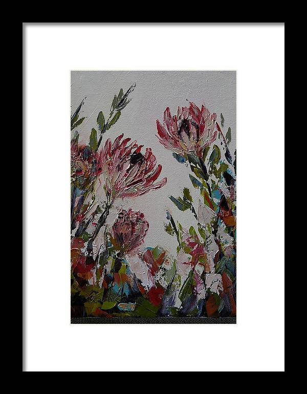 Flowers Framed Print featuring the painting Proteas by Yvonne Ankerman