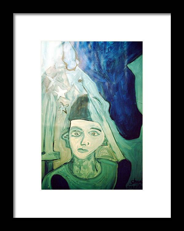 Blue Framed Print featuring the painting Protector Of The Great Land by Shea Holliman