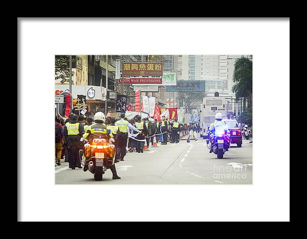 Asia Framed Print featuring the photograph Protesters March Against Hong Kong Leader by Tuimages