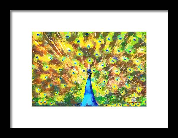 Peacock Framed Print featuring the painting Proud Peacock by Lynne Jenkins