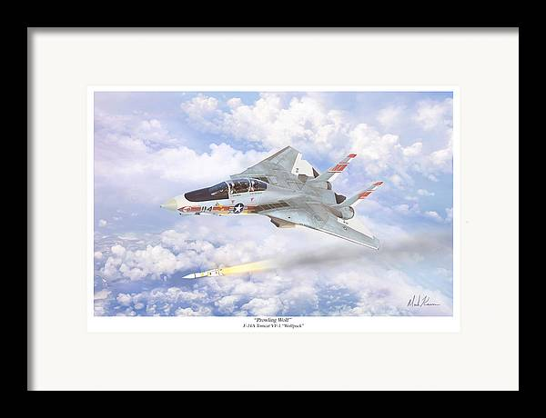 Aviation Art Framed Print featuring the painting Prowling Wolf by Mark Karvon