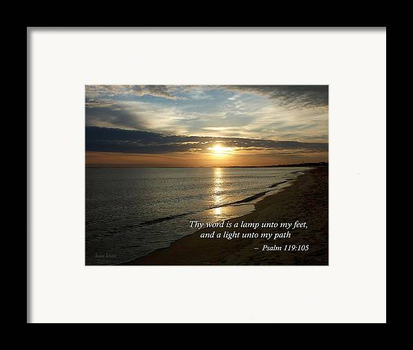 Religious Framed Print featuring the photograph Psalm 119-105 Your Word Is A Lamp by Susan Savad