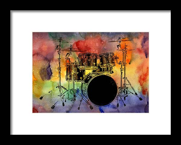 Drums Framed Print featuring the photograph Psychedelic Drum Set by Athena Mckinzie