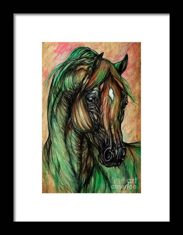 Horse Framed Print featuring the painting Psychedelic Green And Pink by Angel Ciesniarska