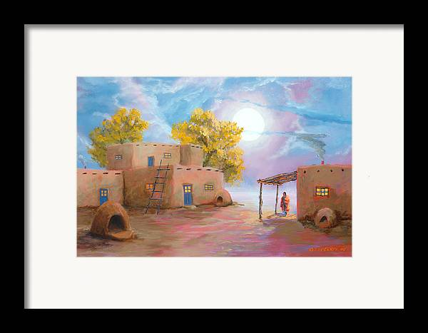 Pueblo Framed Print featuring the painting Pueblo De Las Lunas by Jerry McElroy