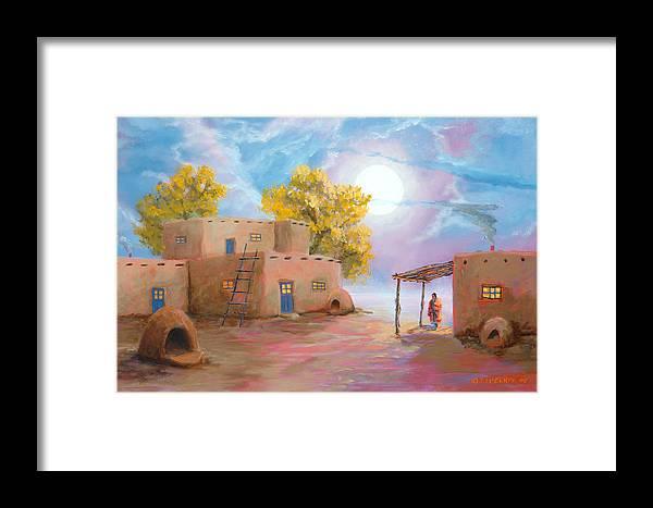 Pueblo Framed Print featuring the painting Pueblo De Las Lunas by Jerry McElroy
