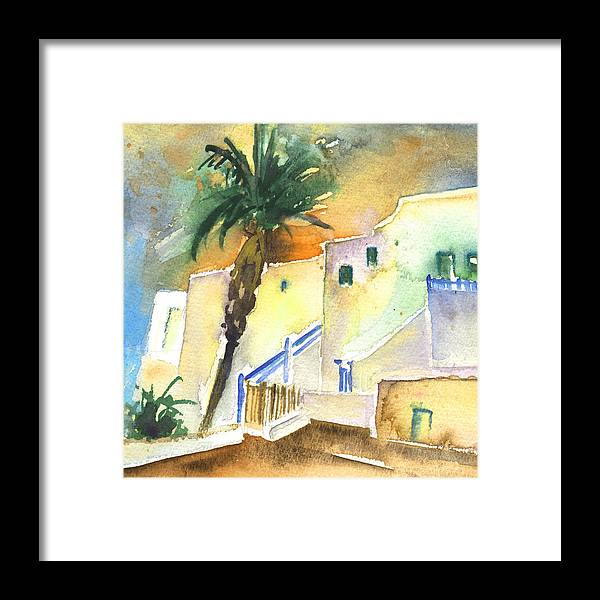 Travel Framed Print featuring the painting Puerto Carmen Sunset In Lanzarote 03 by Miki De Goodaboom