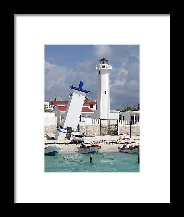 Puerto Morelos Lighthouse Framed Print featuring the photograph Puerto Morelos Lighthouse by Ellen Henneke