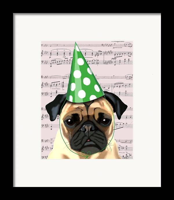 Pug Framed Prints Framed Print featuring the digital art Pug In A Party Hat by Kelly McLaughlan