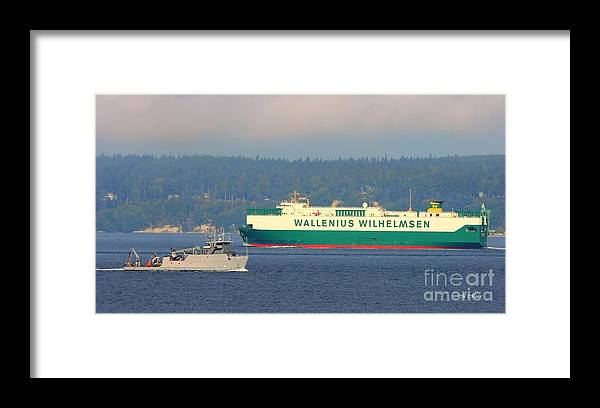 Puget Sound Framed Print featuring the photograph Puget Sound Shipping Waterway by Tap On Photo