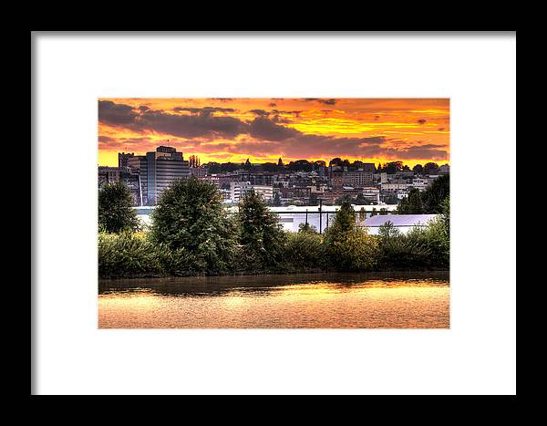 Puyallup Framed Print featuring the photograph Pulallup River Sunset II by Rob Green