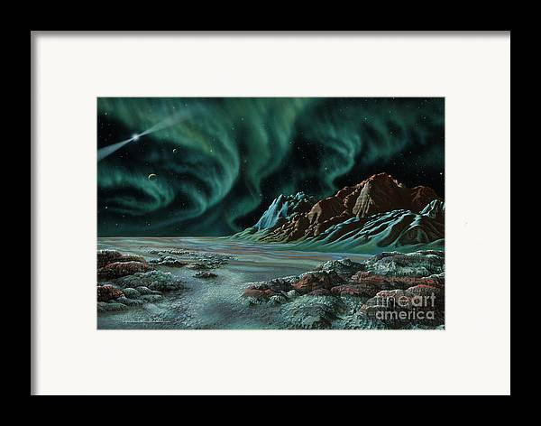 Lynette Cook Framed Print featuring the painting Pulsar Planets I by Lynette Cook