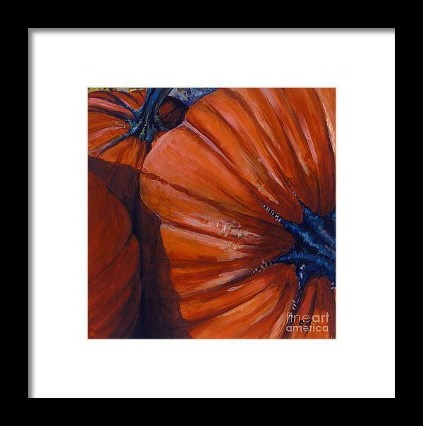 Pumpkins Framed Print featuring the painting Pumpkins by Betsee Talavera