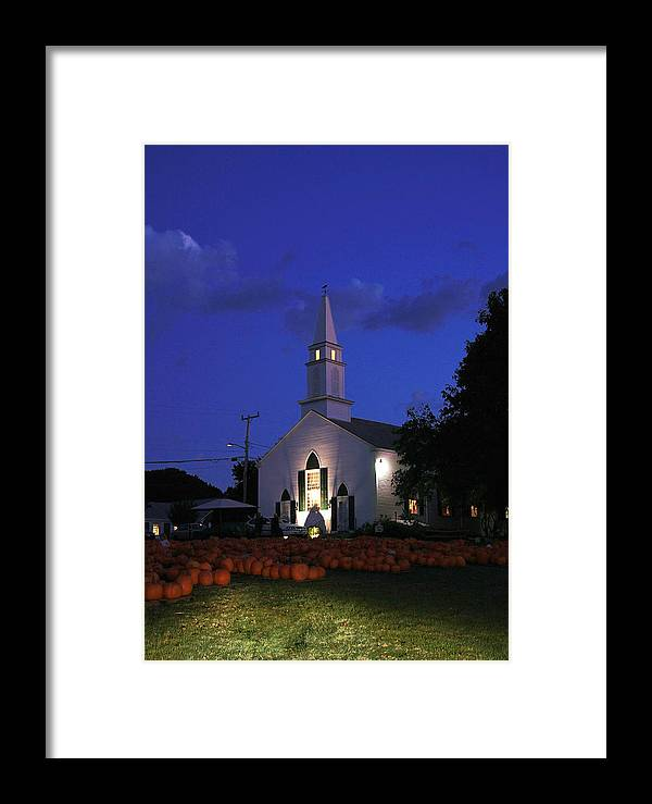 Cape Cod Framed Print featuring the photograph Pumpkins Church by David DeCenzo