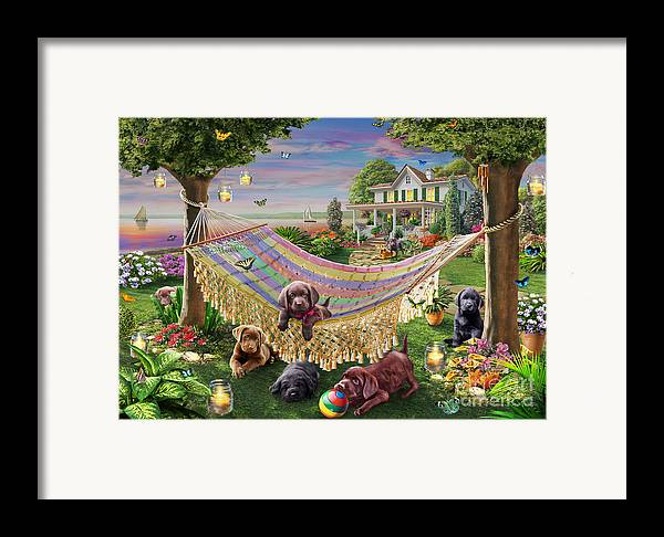 Adrian Chesterman Framed Print featuring the digital art Puppies And Butterflies by Adrian Chesterman