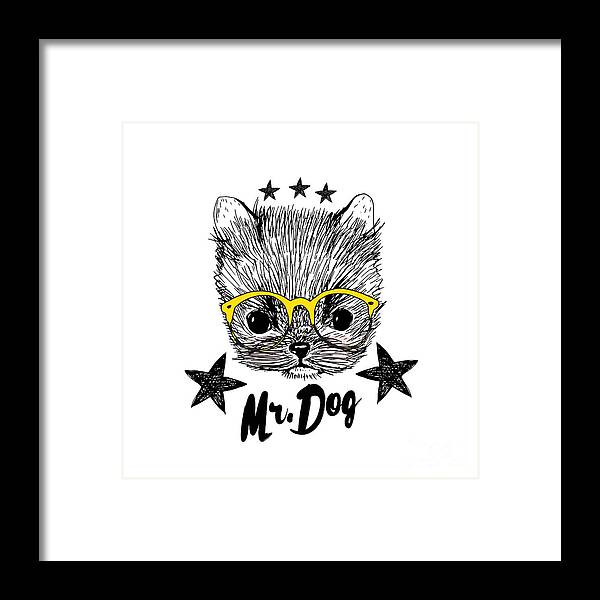 Fur Framed Print featuring the digital art Puppy And Yellow Glasses Illustration by Shekaka