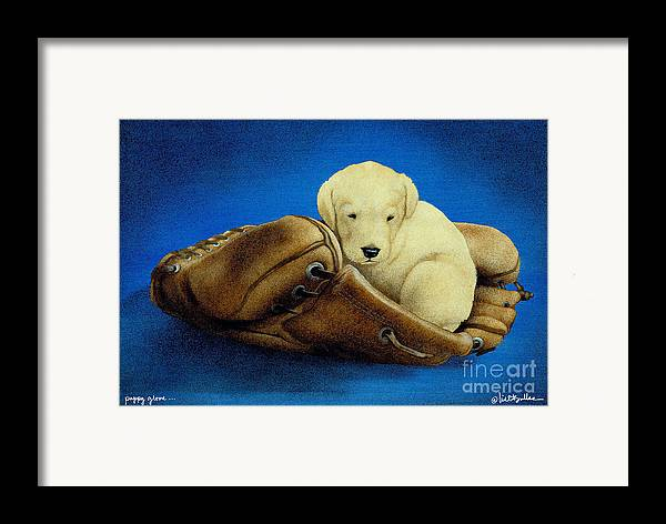 Will Bullas Framed Print featuring the painting Puppy Glove... by Will Bullas