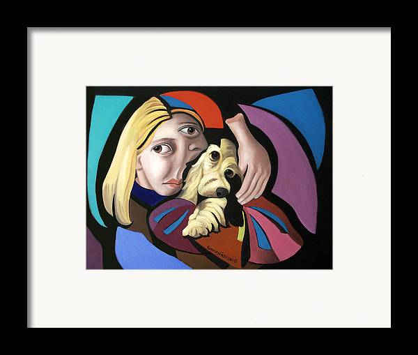 Puppy Love Framed Prints Framed Print featuring the painting Puppy Love by Anthony Falbo