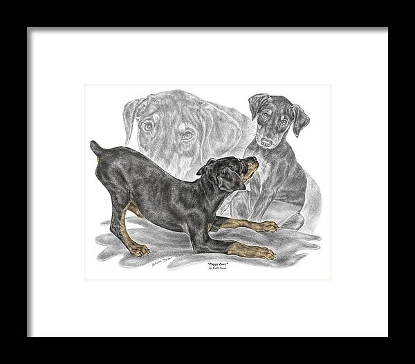 Black And Tan Doberman Framed Print featuring the drawing Puppy Love - Doberman Pinscher Pup - Color Tinted by Kelli Swan