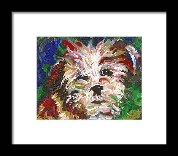 Puppy Framed Print featuring the painting Puppy Spirit 101 by Linda Mears