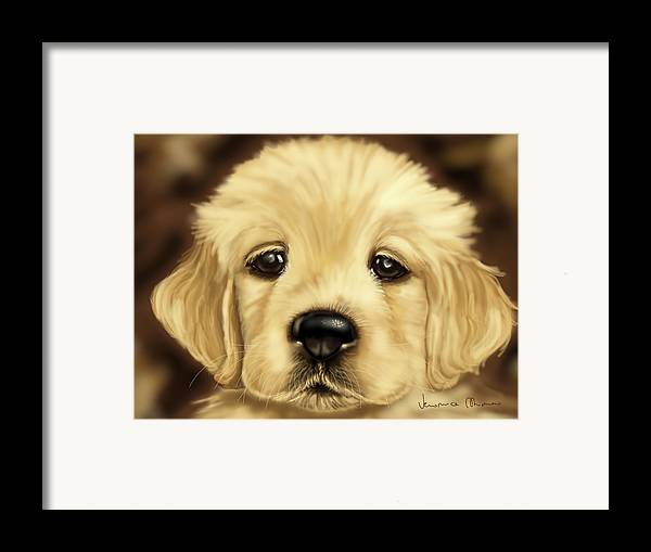 Dog Framed Print featuring the painting Puppy by Veronica Minozzi