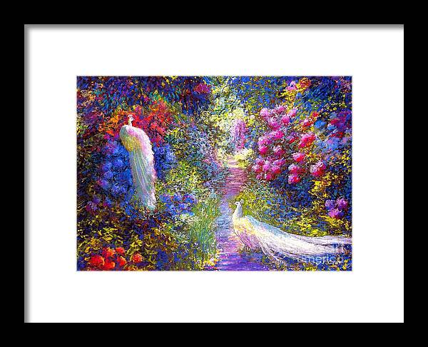 Sun Framed Print featuring the painting White Peacocks, Pure Bliss by Jane Small