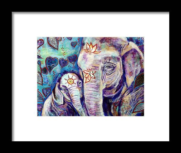Elephant Painting Framed Print featuring the painting Purest Love by Goddess Rockstar