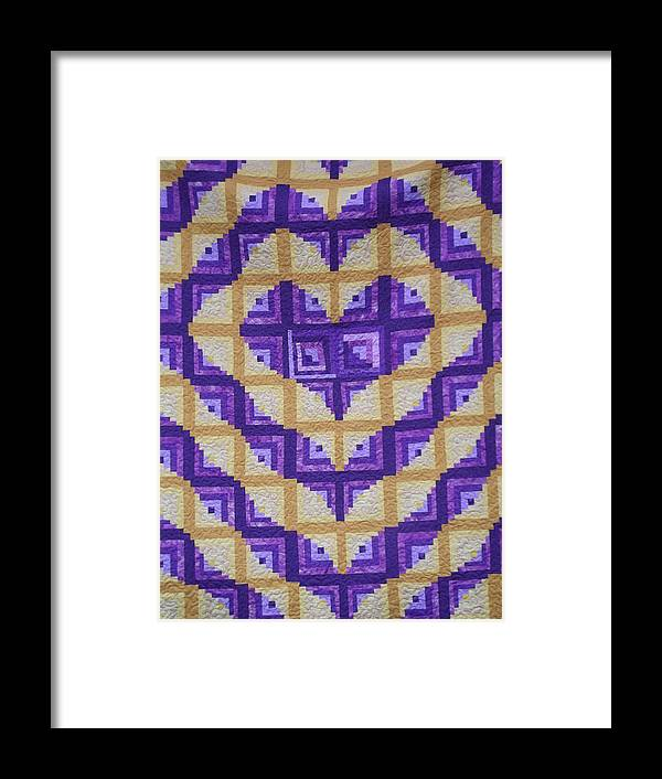 Quilts Framed Print featuring the photograph Purple And Yellow Endless Love Log Cabin Quilt by Paula Talbert