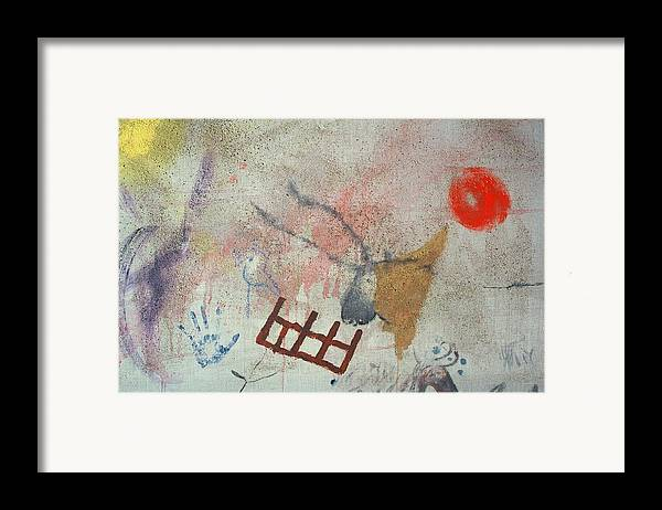 Angels Framed Print featuring the painting Purple Angel Cave Painting With Bull by Jay Kyle Petersen