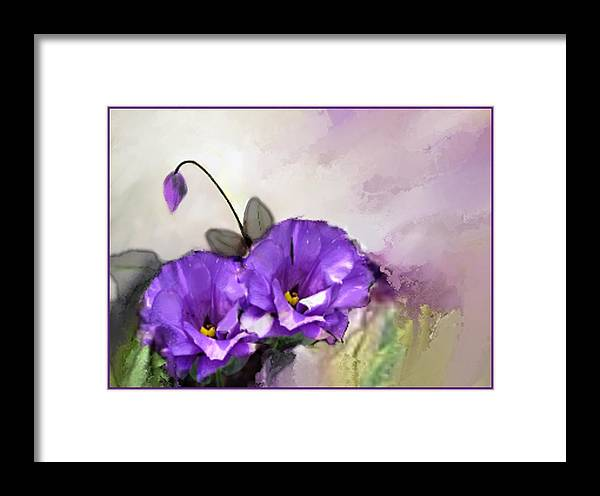 Purple Framed Print featuring the digital art Purple Beauties by Elaine Weiss