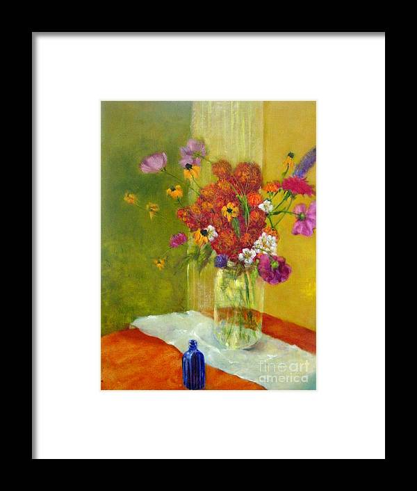 Impressionist Floral Framed Print featuring the painting Purple Cosmos    Copyrighted by Kathleen Hoekstra