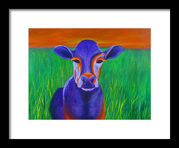Landscape Framed Print featuring the painting Purple Cow by Roseann Gilmore