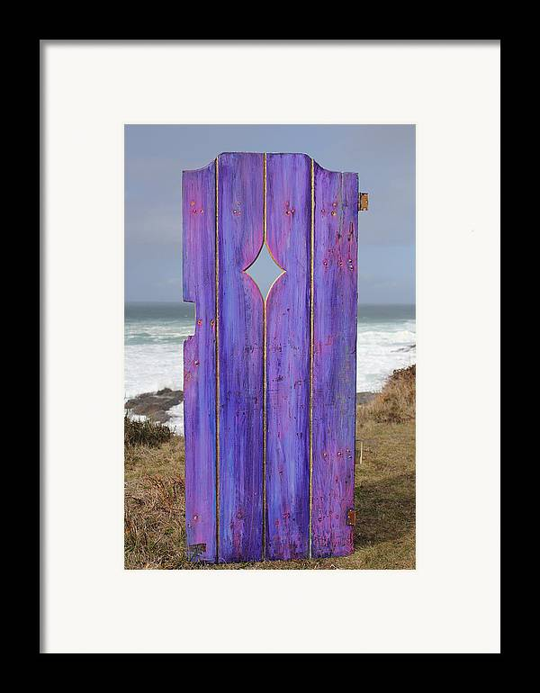 Painted Garden Gate Framed Print featuring the painting Purple Gateway To The Sea by Asha Carolyn Young