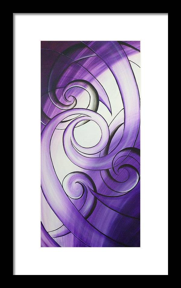 Abstract Prints Framed Print featuring the painting Purple Glass Koru by Reina Cottier