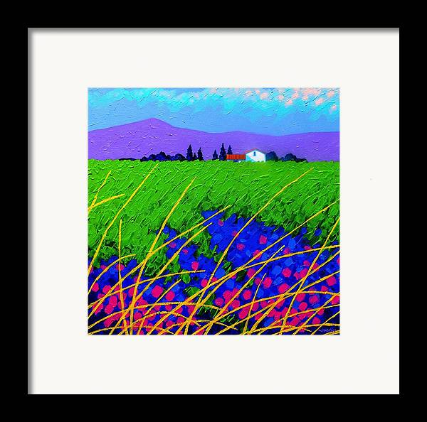 Cottage Framed Print featuring the painting Purple Hills by John Nolan