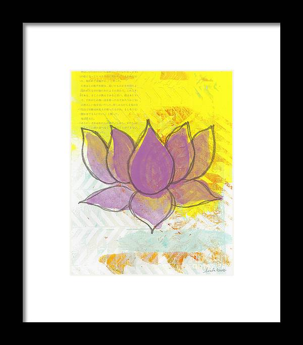 Lotus Framed Print featuring the painting Purple Lotus by Linda Woods
