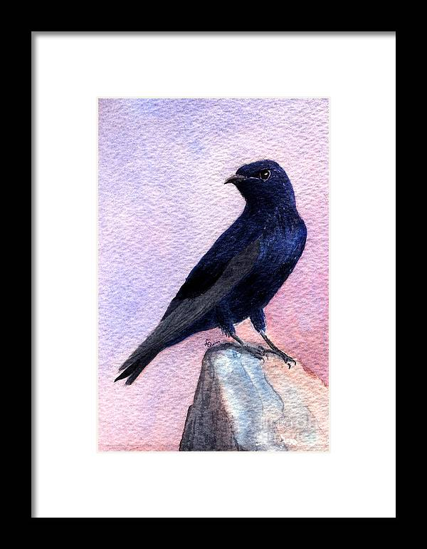 Bird Framed Print featuring the painting Purple Martin by Lynn Quinn