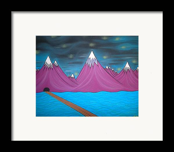 Abstract Painting Framed Print featuring the pastel Purple Mountains by Robert Nickologianis