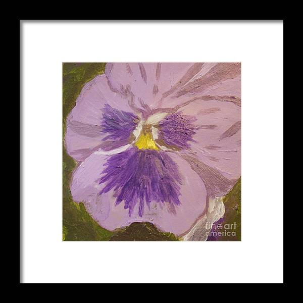 Purple Framed Print featuring the painting Purple Pansy 1 by Vicki Maheu